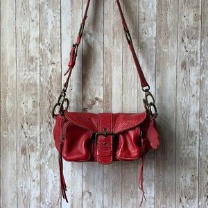 Roots Canada Leather Red Buckle Purse